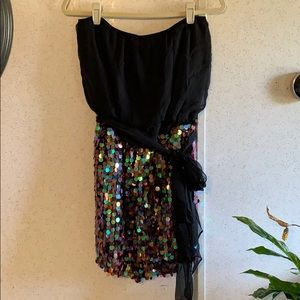 Fun strapless mini dress with sequins